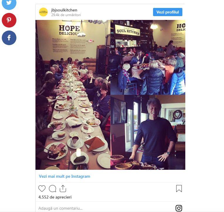 Jon Bon Jovi a deschis două restaurante unde mănâncă oamenii săraci