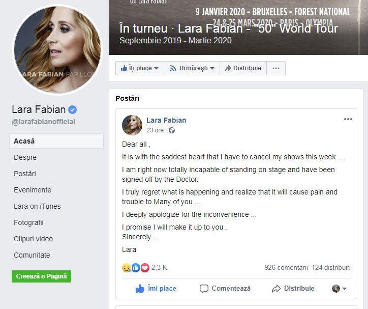 Mesajul postat de Lara Fabian pe Facebook